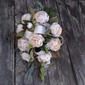 ramo de novia peonias tela